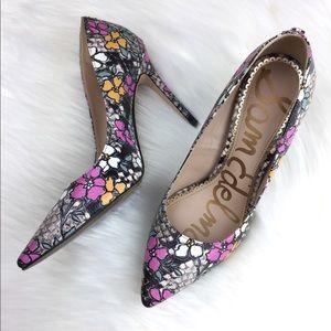 Sam Edelman Hazel Rustic Snake Print Floral Heels.
